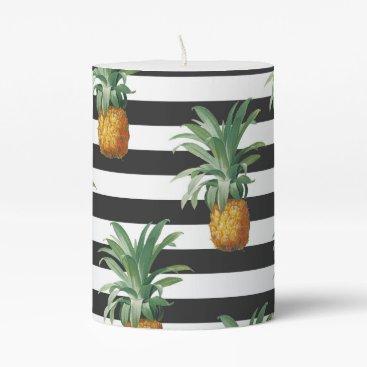 pineapples stripes grey pillar candle