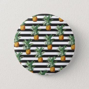 pineapples stripes grey pinback button