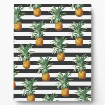 Beach Themed pineapples stripes grey plaque