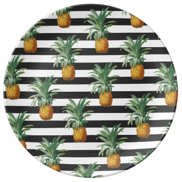 pineapples stripes grey plate