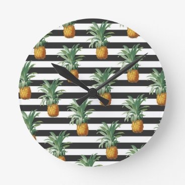 pineapples stripes grey round clock
