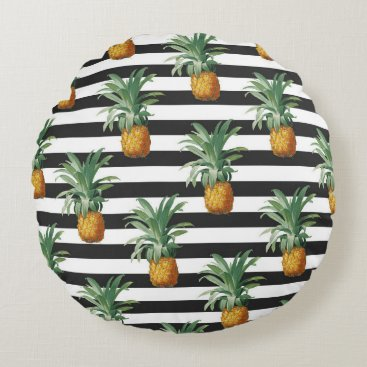 Beach Themed pineapples stripes grey round pillow
