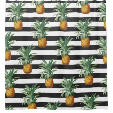 pineapples stripes grey shower curtain