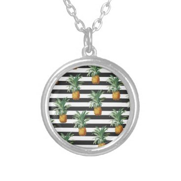 pineapples stripes grey silver plated necklace