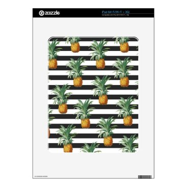 Beach Themed pineapples stripes grey skin for iPad