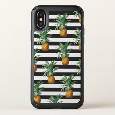 Beach Themed pineapples stripes grey speck iPhone x case