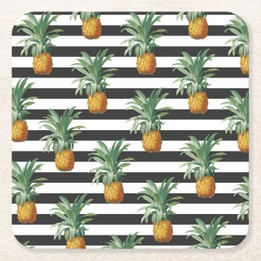Beach Themed pineapples stripes grey square paper coaster