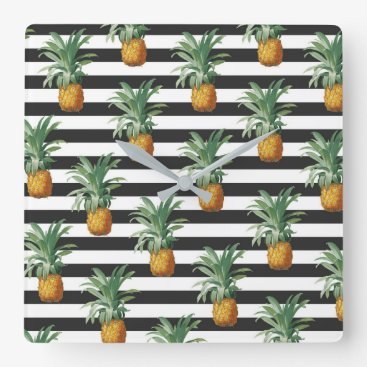 pineapples stripes grey square wall clock