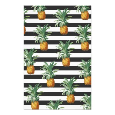 Beach Themed pineapples stripes grey stationery