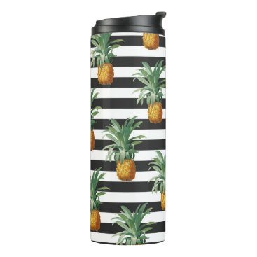 pineapples stripes grey thermal tumbler