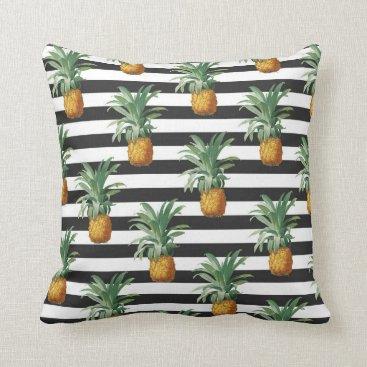 pineapples stripes grey throw pillow