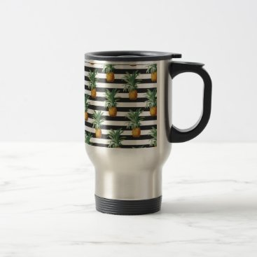 Beach Themed pineapples stripes grey travel mug