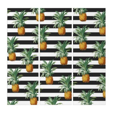 Beach Themed pineapples stripes grey triptych
