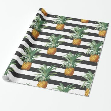 Beach Themed pineapples stripes grey wrapping paper