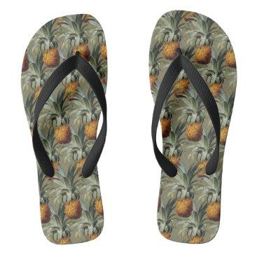 Beach Themed Pineapples Tan Background Flip Flops