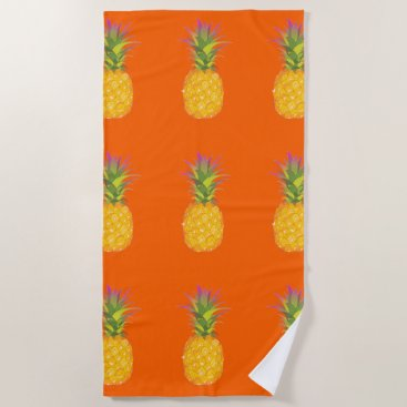 Beach Themed Pineapples - Tropical Beach Towel