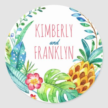 Beach Themed pineapples tropical palms beach wedding classic round sticker