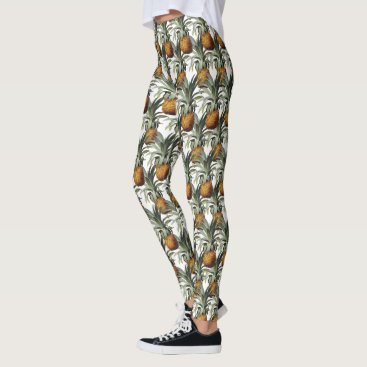 Beach Themed Pineapples White Background Leggings