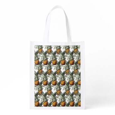 Beach Themed Pineapples White Background Reusable Grocery Bag