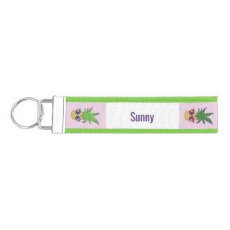 Pineapples with Sunglasses Personalized Wrist Keychain