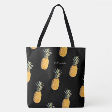 Beach Themed pineapples with your name on black tote bag