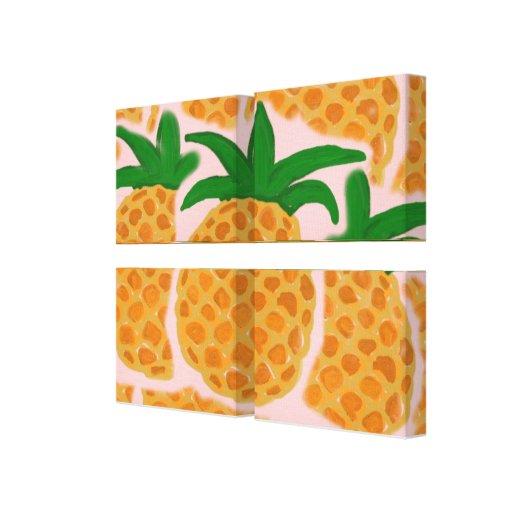 Pineapples Wrapped Canvas Mullion Compensation Canvas Prints