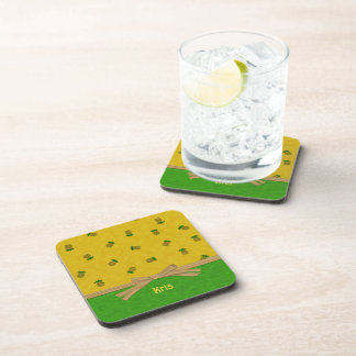 Pineapples Yellow and Green Tropical Custom Name Beverage Coaster