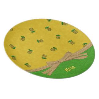 Pineapples Yellow and Green Tropical Custom Name Plate
