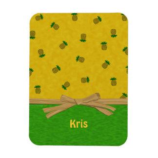 Pineapples Yellow and Green Tropical Custom Name Rectangular Photo Magnet