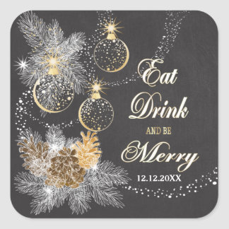 Pinecone adorna navidad de la pizarra pegatina cuadrada