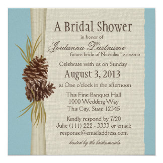 Pinecone and Burlap Look Bridal Shower Card