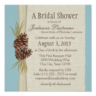 "Pinecone and Burlap Look Bridal Shower 5.25"" Square Invitation Card"