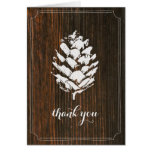 Pinecone Barn Wood Thank You Card