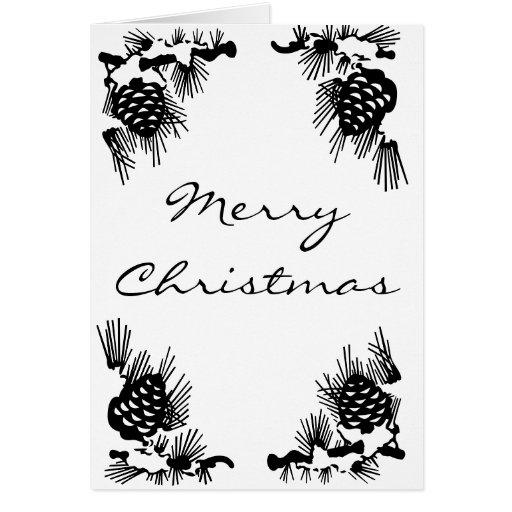 Pinecone Border Christmas Card