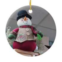 Pinecone Dressed Snowman Ornament