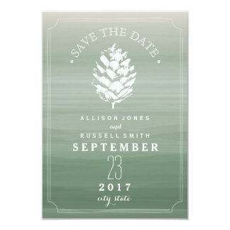 Pinecone Green Watercolor Wedding Save The Date Card