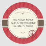 Pinecone Holiday Address Label Classic Round Sticker