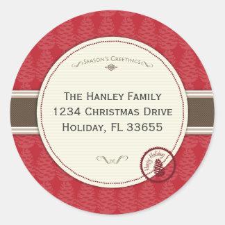 Pinecone Holiday Address Label Round Sticker