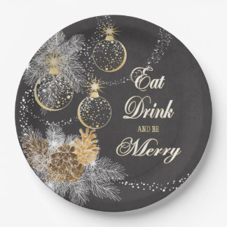 Pinecone Ornaments Chalkboard Christmas Paper Plate