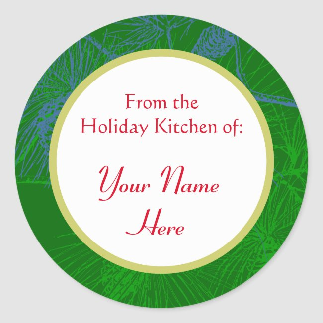 Pinecone Pattern Custom Holiday Baking Stickers