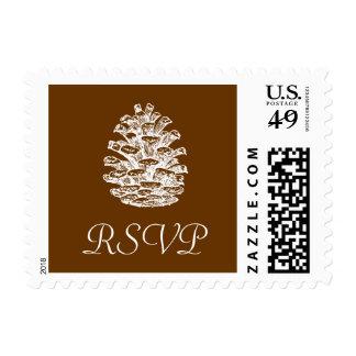 Pinecone RSVP Postage Stamp