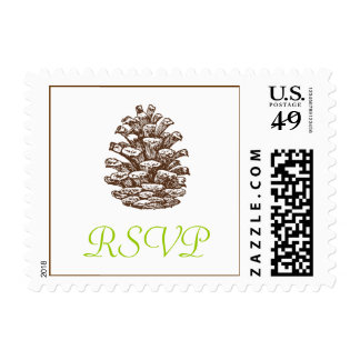 Pinecone RSVP Postage Stamp