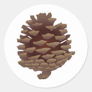 Pinecone rústico pegatina redonda