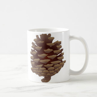 Pinecone rústico taza básica blanca