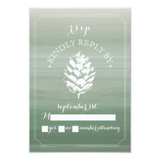 Pinecone Watercolor Ombre Wedding RSVP Card