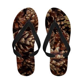 pinecones allover flip flops