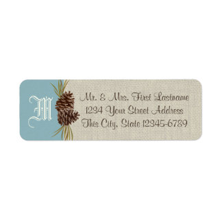Pinecones and Burlap Blue Winter Label