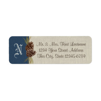 Pinecones and Burlap Navy Blue Winter Label