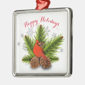 Pinecones and Cardinal Bird Christmas Ornament