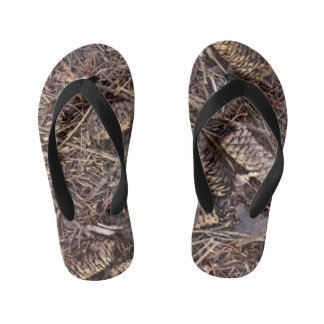 Pinecones and Pine Needles on Forest Floor Kid's Flip Flops